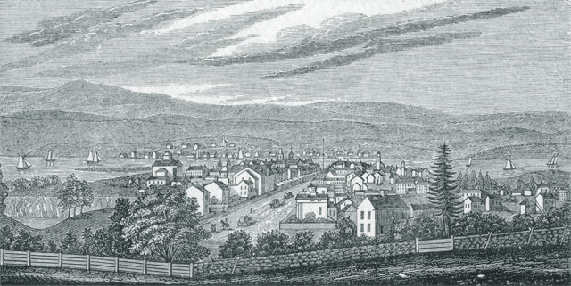 South East View of Hudson City in 1837